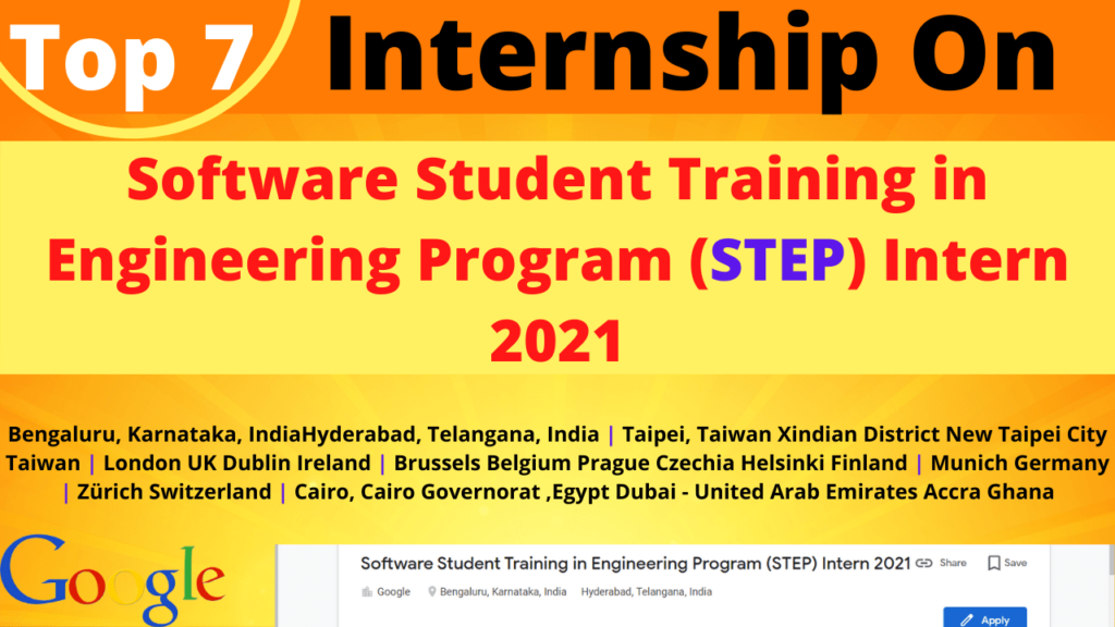 In this I will talk about Top 7 Internship On STEP Intern 2021
